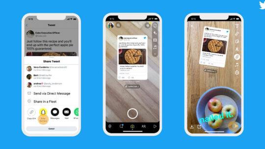 Twitter permite a los usuarios compartir tweets en Snapchat