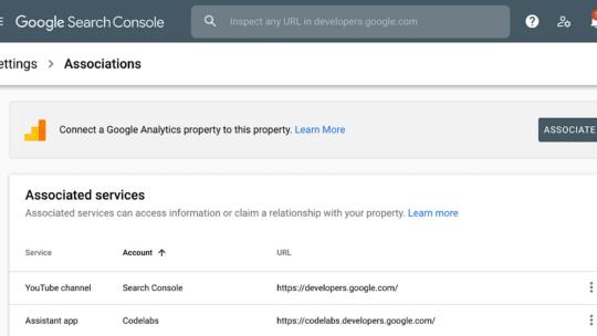 Consola de búsqueda de Google actualizada con una nueva página de asociaciones