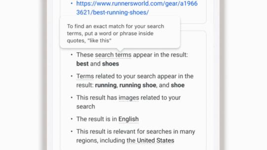 """Google amplía """"Acerca de este resultado"""" con información sobre factores de clasificación."""